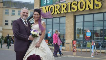 Blake Green and Rebecca Wooller after their wedding at Morrisons in Cambourne, Cambridgeshire