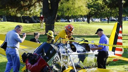 Harrison Ford hospitalised after crashing plane on golf course