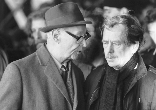 Alexander Dubcek with Vaclav Havel at a protest in 1989.