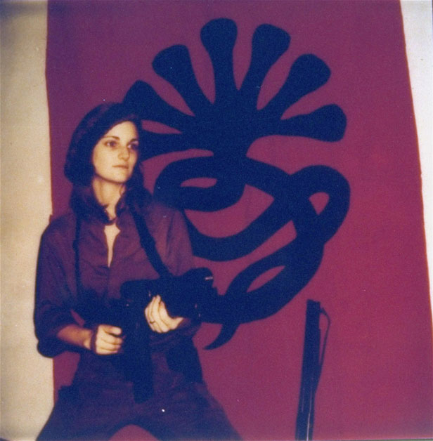 Patty Hearst posing with a machine gun in a picture issued by her captors from the Symbionese Liberation Army.