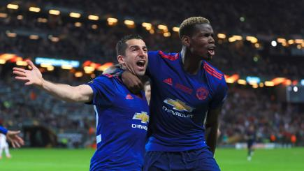 Henrikh Mkhitaryan (left) and Paul Pogba celebrate
