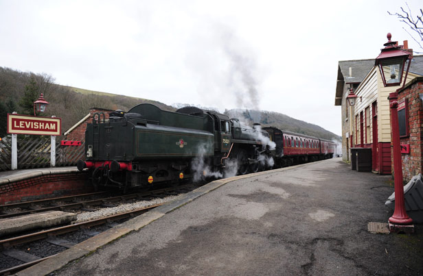 A train at Levisham Station on the North Yorkshire Moors Railway, closed by the Beeching report but reopened in 1973.