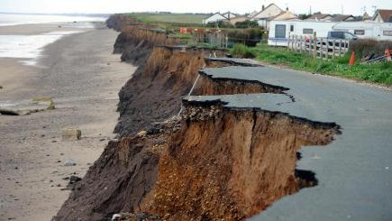 A cliff road in Skipsea which has nearly completely washed away from coastal erosion