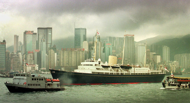 Britannia enters Hong Kong harbour during her final overseas engagement in 1997.