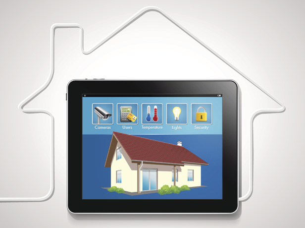 House with tablet and connected devices