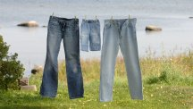 Stock image of jeans hanging on a washing line.  Photo credit: IC / IBL/REX/Shutterstock