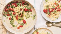 How to make Gennaro Contaldo's spaghetti with broad beans, cherry tomatoes and goat's cheese