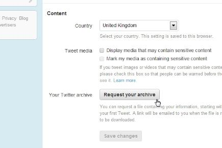 Step 4: Request your Twitter archive