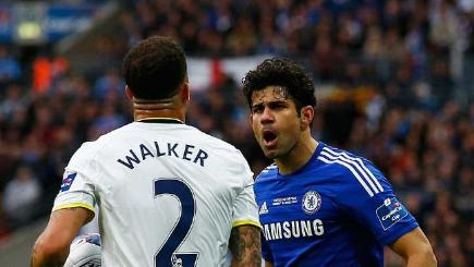 Kyle Walker of Spurs and Diego Costa of Chelsea square up.