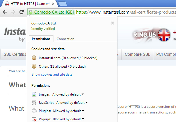 Screenshot showing https