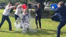 Edinburgh South West MP and chairman of the Better Together campaign Alistair Darling taking part in the ice bucket challenge after he was nominated by actor James McAvoy (Better Together/PA)