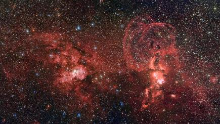 Image of two dramatic star formation regions in the southern Milky Way