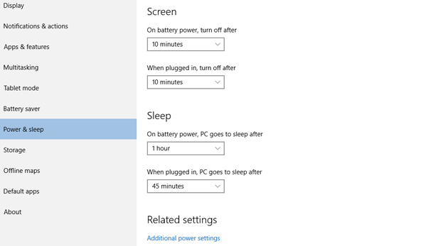 Improve battery life on Windows 10