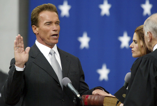 Schwarzenegger at his gubernatorial inauguration in November 2003.