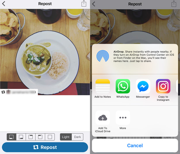 How to repost to Instagram 2