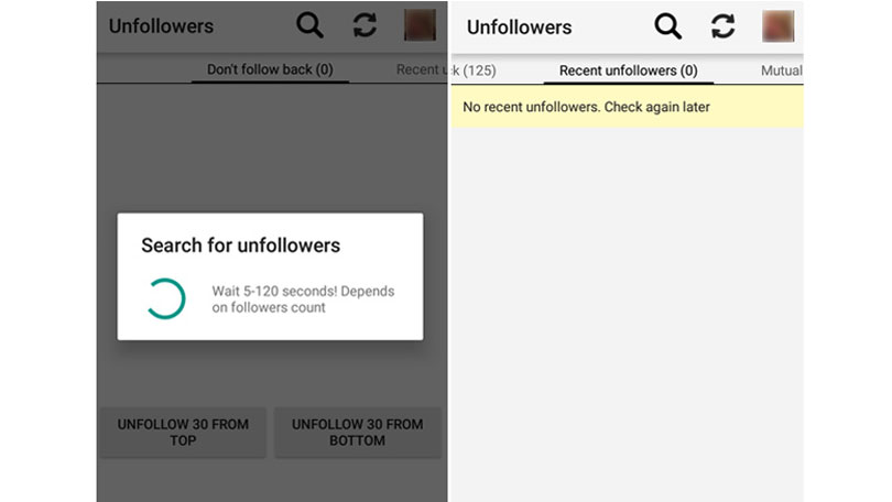 Instagram unfollow
