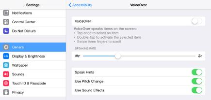 iPad screenshot Step 3: VoiceOver assistance