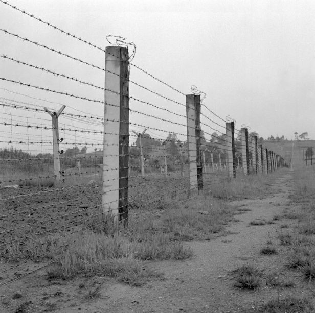 A fenced border between Czechoslovakia and West Germany, effectively the 'Iron Curtain' between Nato and Warsaw Pact nations.