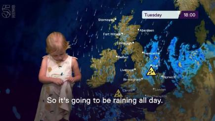 It's safe to say this little girl is as fed up with the weather as the rest of us