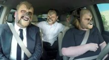 James Corden and JJ Abrams join the 'happy Chewbacca' mum for a lift to work