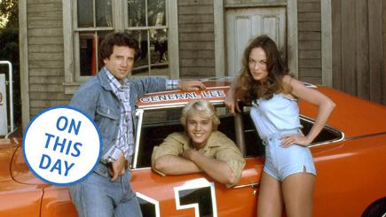 Tom Wopat, John Schneider and Catherine Bach in The Dukes of Hazzard