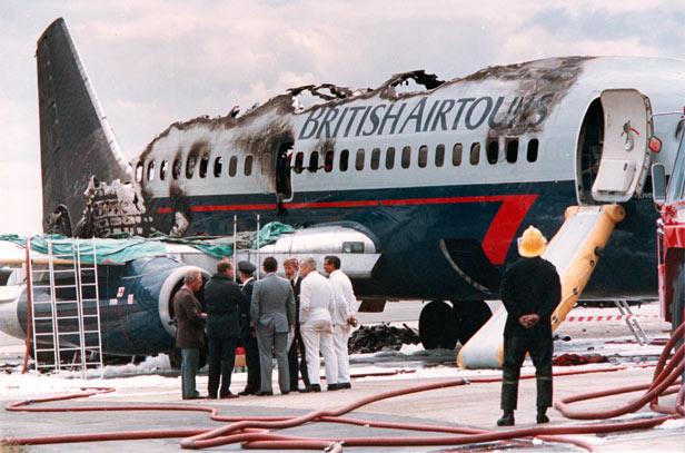 Investigators examine the British Airtours jet.