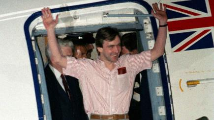 John McCarthy arrives at RAF Lyneham after his release from five years of captivity in Beirut.