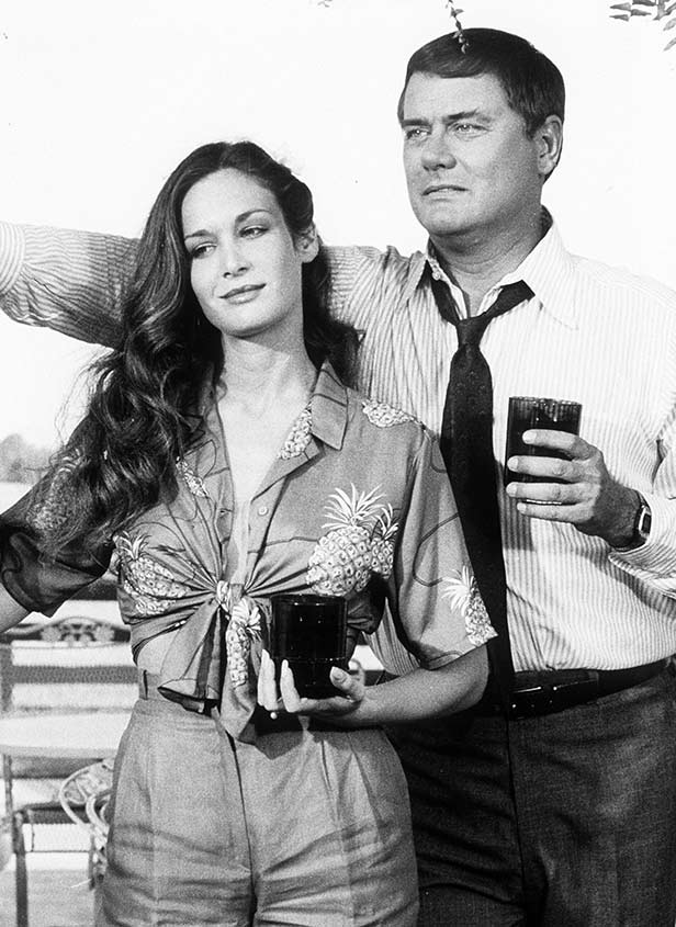 Assailant Kristin Shepard (Mary Crosby) with her lover and victim, JR Ewing (Larry Hagman)