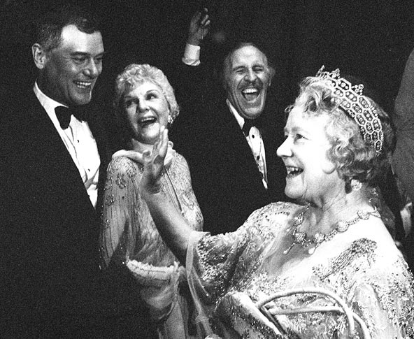Larry Hagman meets the Queen Mother as Hagman's mother Mary Martin and Bruce Forsyth look on