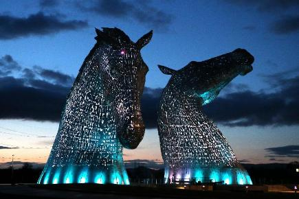 A lighting test is carried out on the Kelpies in Falkirk ahead of their official opening to the public later this month