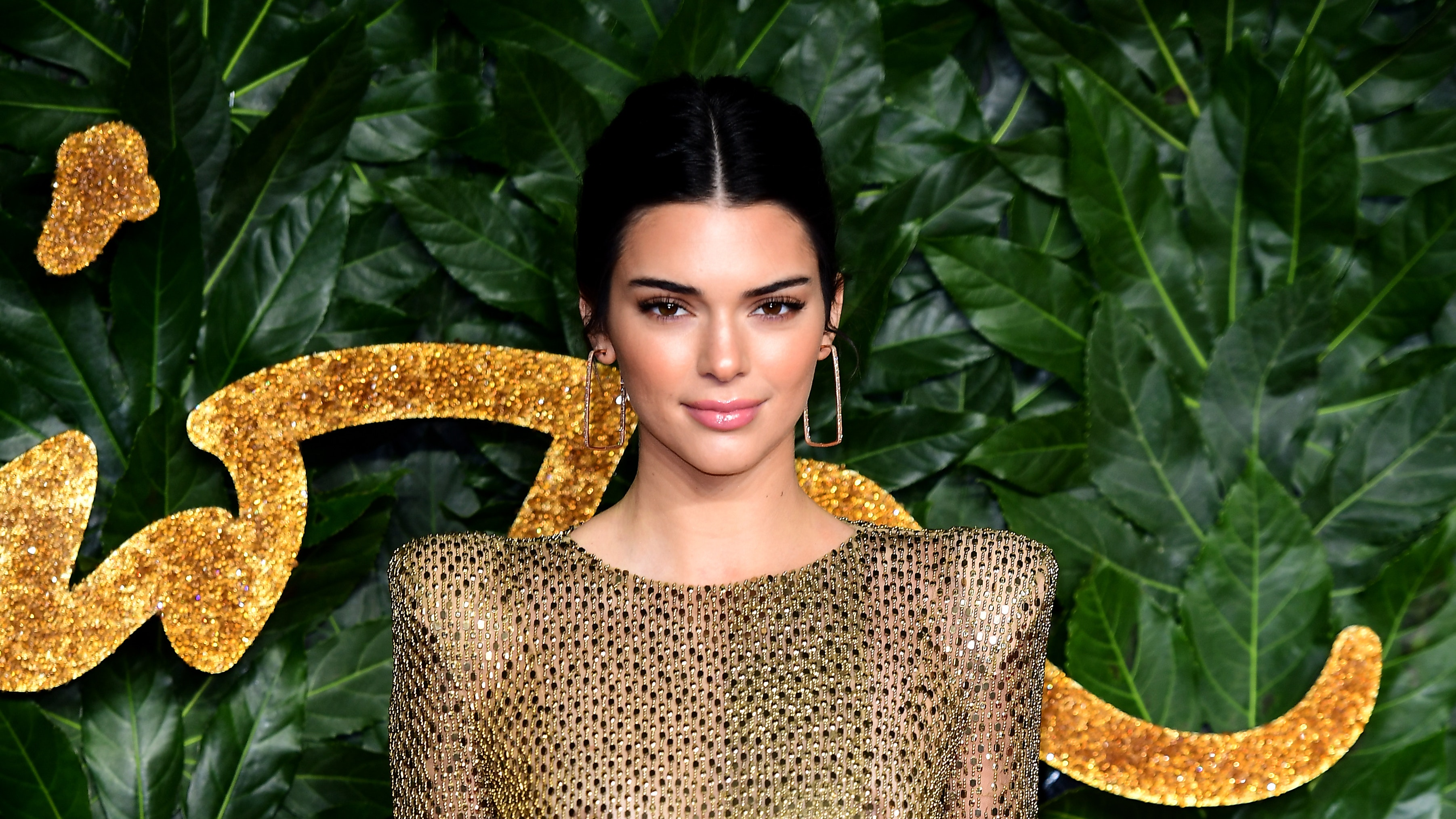 Kendall Jenner Bares All in Gold Mesh Gown at 2018 British