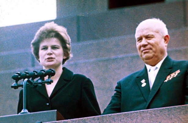 Valentina Tereshkova and the Soviet leader at the time of her space flight, Nikita Khrushchev.
