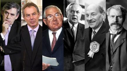 Labour's six PMs - (from left) Gordon Brown, Tony Blair, James Callaghan, Harold Wilson, Clement Attlee and Ramsay MacDonald
