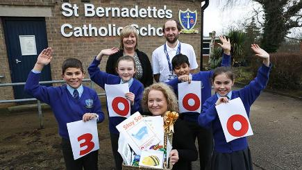 BT's head of BT's Barefoot programme with David Clingain - BT Barefoot Volunteer and St Bernadette's pupils Thomas Horton, Serenna Davis, Annalise Bamforth and Shayan Ahmed