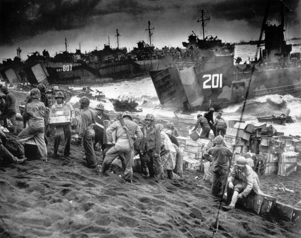 Offloading supplies from US landing craft at Iwo Jima