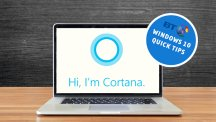 Laptop with 'Hi I'm Cortana' and Windows 10 Quick Tips badge