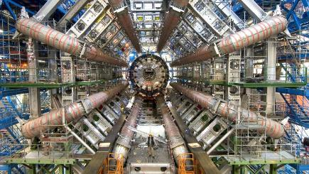 The Large Hadron Collider is built into a seven-mile circular underground tunnel under the Swiss-French border