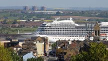 The Viking Sea cruise ship passes Gravesend in Kent on her way up the Thames to Greenwich