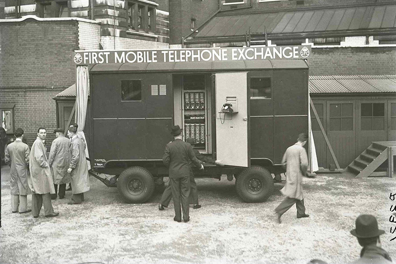 Launch of the first mobile telephone exchange, London. 1938.