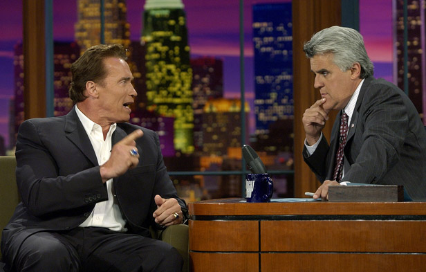 Schwarzenegger tells Tonight Show host Jay Leno of his intention to run for Governor.