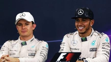 Mercedes F1 drivers Nico Rosberg and Lewis Hamilton.