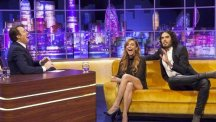 Lindsay Lohan has a laugh with Jonathan Ross and Russell Brand (ITV)