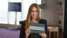 Lisa Snowdon holding BT Smart Hu