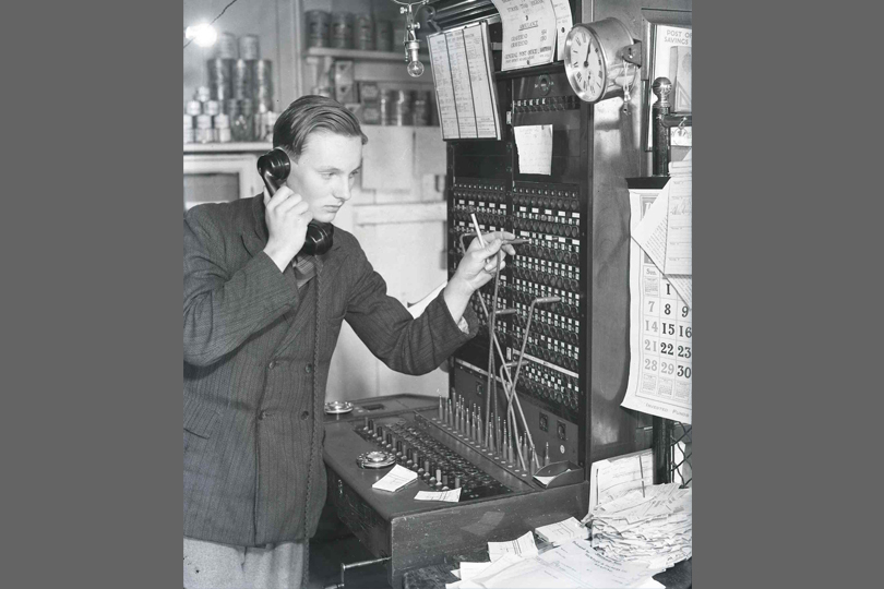 Local telephone exchange, Shorne Post Office , Kent. 1939.