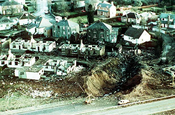 The crater left by the fuselage in Lockerbie