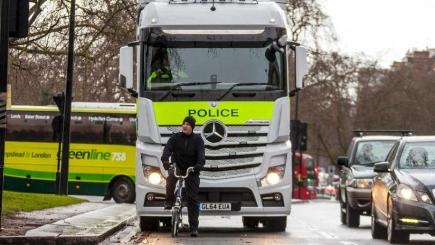A police liveried lorry is being used to show cyclists the driver's view from the cab in a bid to cut accidents
