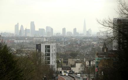 London skyline with fumes