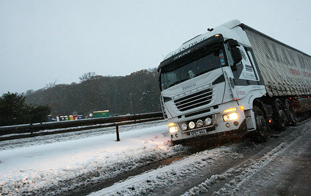 Lorry stuck in the snow