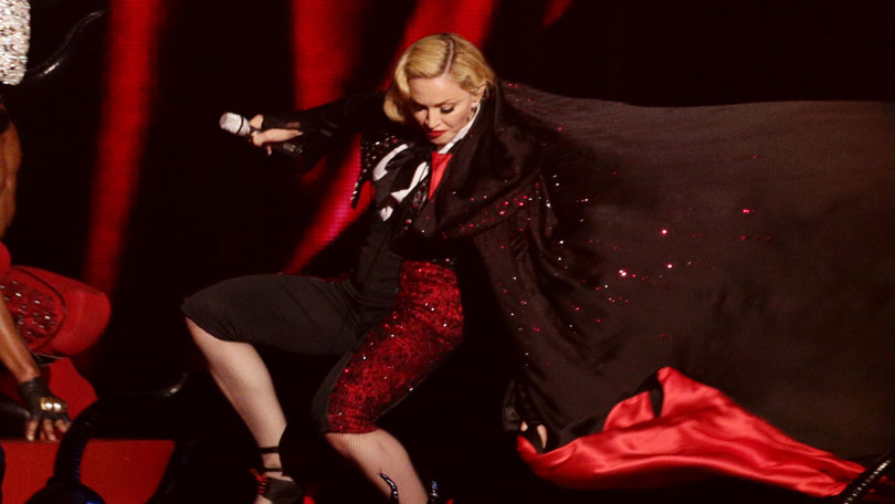 madonna falls over