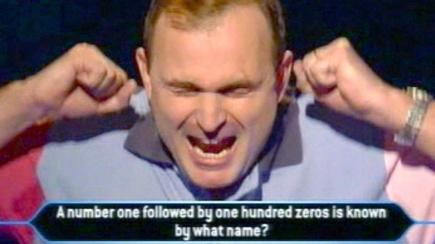 Major Charles Ingram celebrates winning a million pounds on the game show